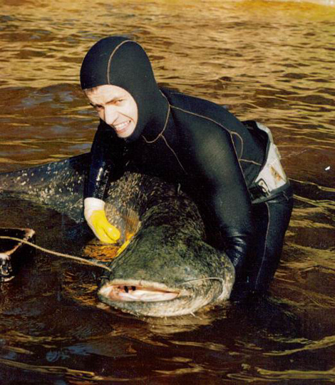 видео подводной охоты на большого сома